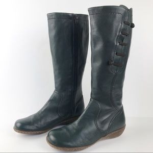 Wonders Dark Green Soft Leather Round Toe Zip Up Boots Made in Spain 37